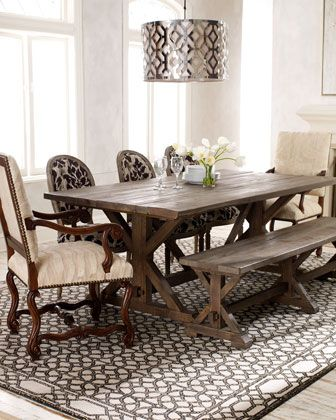 """""""Carlyle"""" Dining Furniture, """"Adrienne"""" Dining Chair, & """"Phoebe"""" Chair at Horchow.  MAYBE: Decor, Photos, Dining Rooms, Idea, Benches, Dining Table, Dining Chairs, Dining Bench, Light Fixture"""