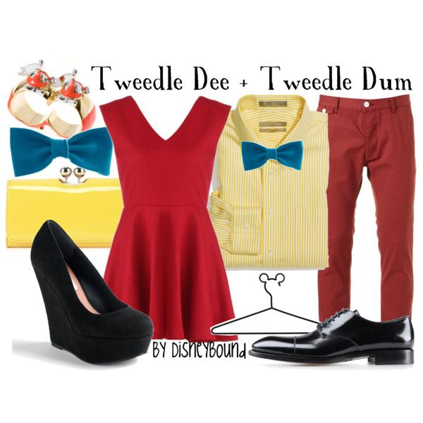 """""""Tweedle Dee + Tweedle Dum"""" Old movie Idea for Lexi's sweet 16. The red dress, heels (maybe), the bow, and a yellow cardigan. No wallet or ring. Patrick will have the exact male outfit."""