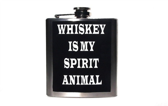 Whiskey Is My Spirit Animal  6oz Stainless Steel Flask by FireGrog, $16.00