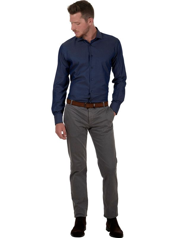 Men's shirt in blue cotton twill fabric and small French collar Delsiena