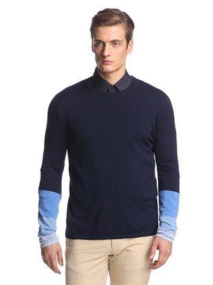 80% OFF Pringle of Scotland Men's Degrade Long Sleeve Knit (Navy/Cool Blue)