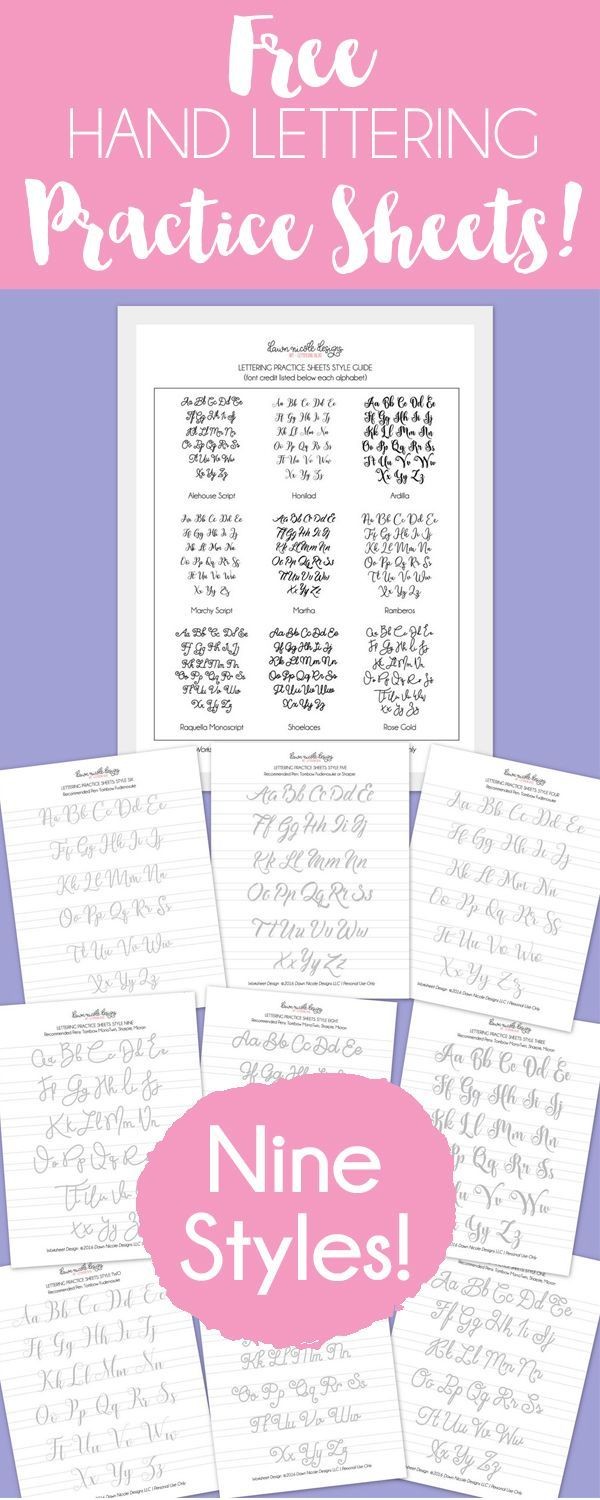 Free Hand Lettering Practice Sheets: 9 Styles! Download all 9 styles and get your lettering practice on! Includes pen recommendations for each style. This eBook was created thanks to my friends at The