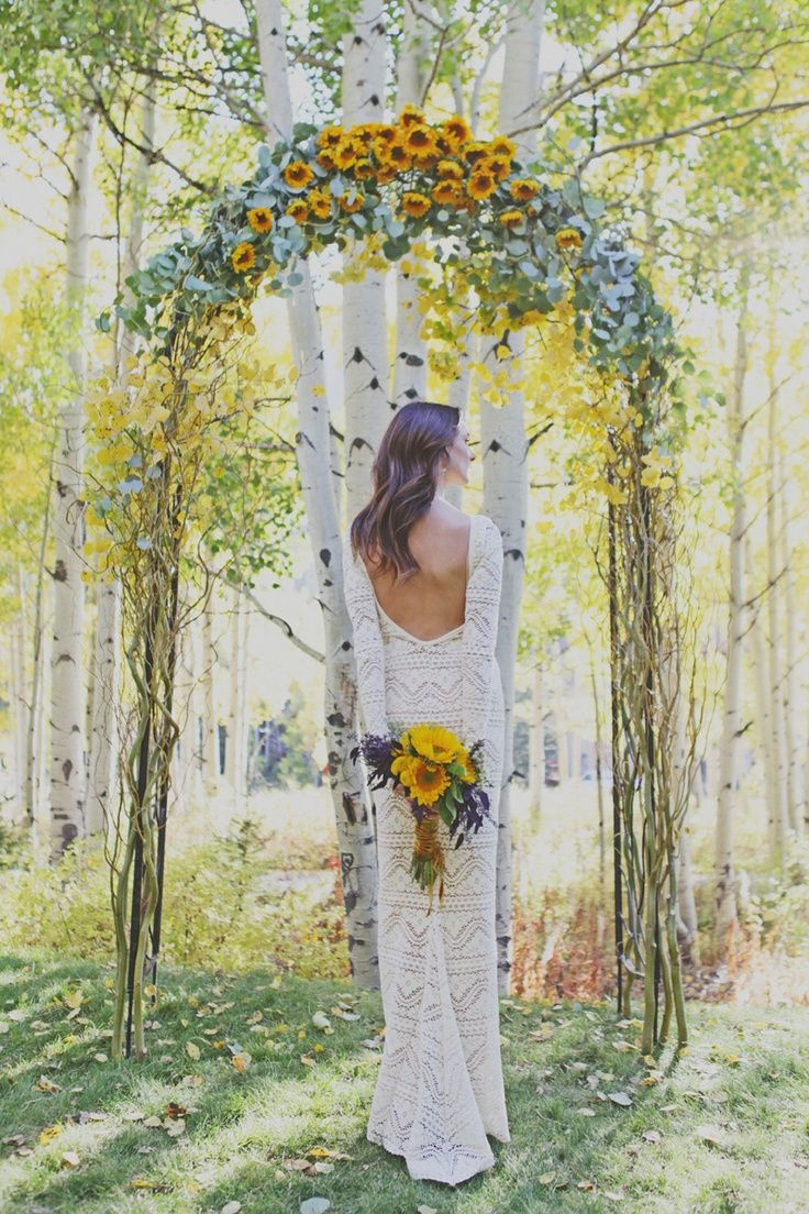 Sunflowers Floral Arch Outdoor Ceremony Decor Photo Inspiration Wedding Ceremony Arch