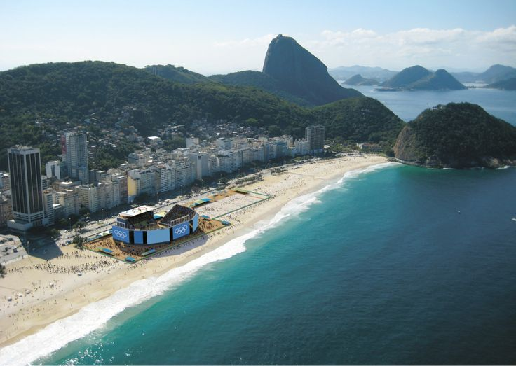 One of Rio's most famous postcards, the Copacabana Beach will host beach volleyball, marathon swimming and triathlon during Rio 2016.