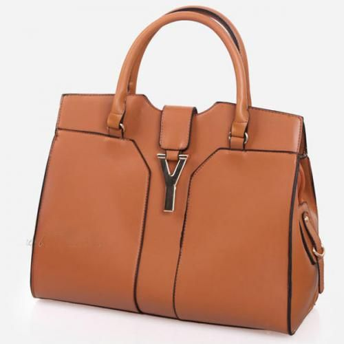 Brown Faux Leather Metal Y Decor Stylish Tote Bag