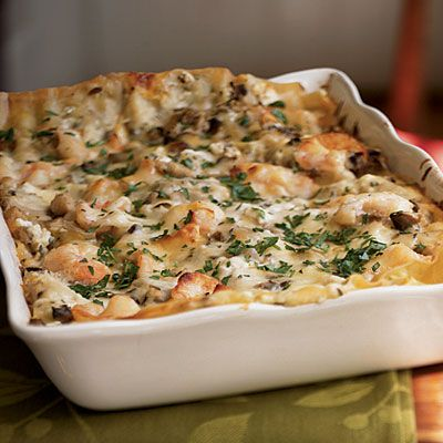 Seafood Lasagna Recipe from Cooking Light, except I ain't gonna use low-fat nothin'!!