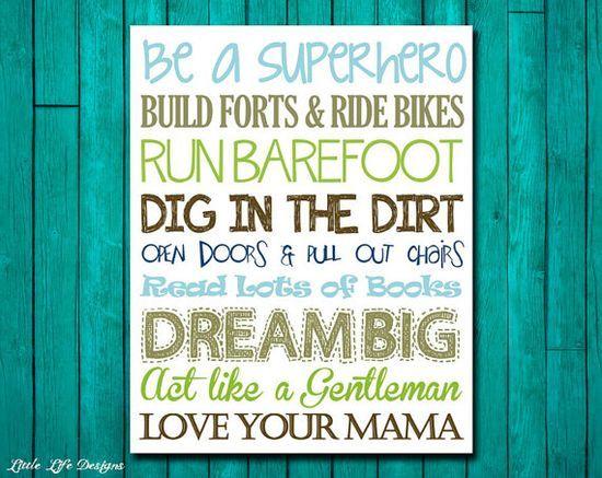 Little Boys Wall Art. Nursery Decor. Children's Wall Art. Baby Shower Gift. Be a Superhero. Dream Big. Run Barefoot. Love Your Mama on Etsy,