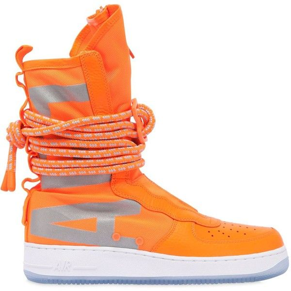 Nike Men Sf Air Force 1 Sneaker Boots ($280) ❤ liked on Polyvore featuring men's fashion, men's shoes, men's boots, neon orange, mens shoes, mens neon shoes, mens boots, mens military style boots and mens rubber sole shoes