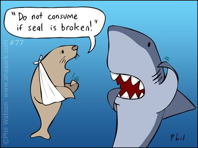 """Funny Animals: """"Do not consume if seal is broken!"""""""