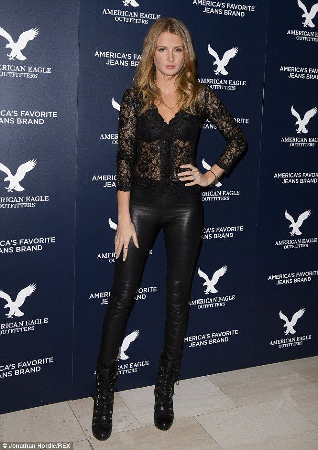 Mixing things up: Millie Mackintosh wore lace and leather to the American Eagle Outfitters...