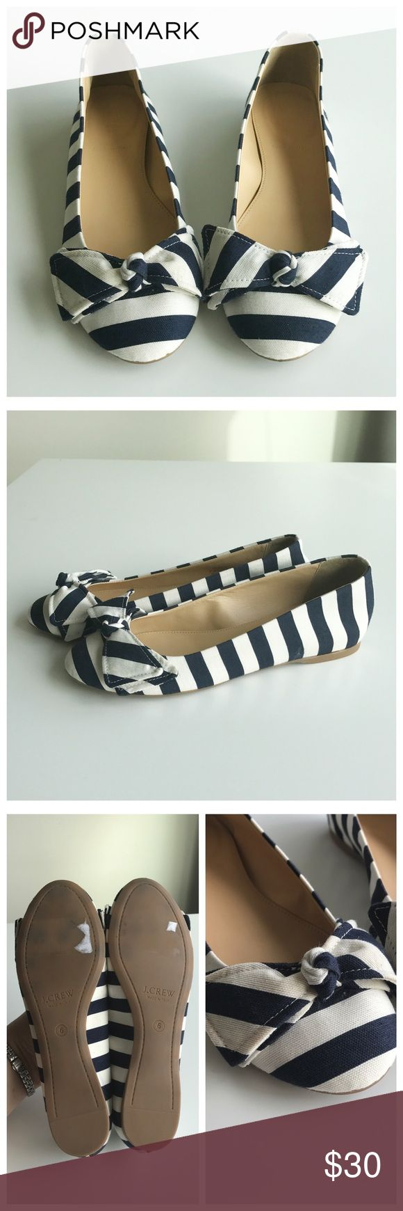 J. Crew NWOT Nautical Stripe Flats Fabric outside, navy and white stripe, nautical flats. These shoes have never been worn! Only flaw is that there are some sticker marks on the bottom of the shoe. J. Crew Shoes Flats & Loafers
