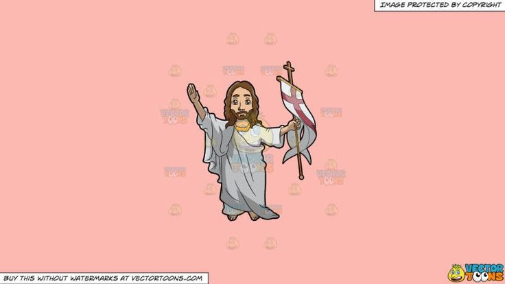 Resurrected Jesus Christ On A Solid Melon Fcb9b2 Background:   A male religious icon with brown hair mustache and beard wearing a white and gold gown clothing lifts his right hand as he carries a gold cross staff with a white and red cross flag in his left hand