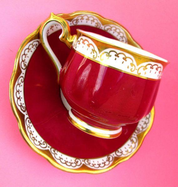 Royal Albert China Teacup - Vintage Art Deco 20s Cranberry Red Raspberry Tea Party Cup Art Nouveau Blood Wine Ruby Golden Maroon HP Antique