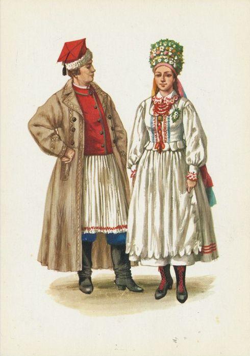 Traditional flower crowns from Poland. Region around Sandomierz. Postcard with illustration by Maria Orłowska-Gabryś (1925-1988).