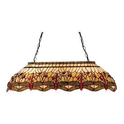 Meyda Tiffany Victorian Tiffany Hanginghead Dragonfly Oblong 6 Light Pool Table Light