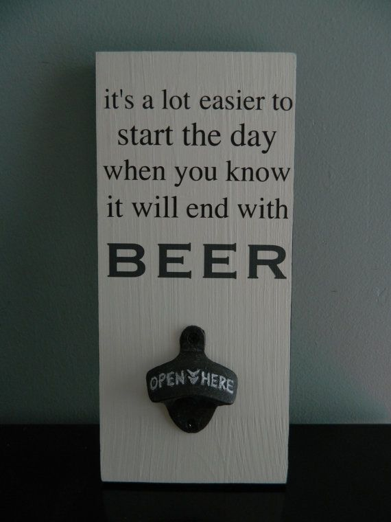 Beer Lovers Gift Wall Mount Beer Opener by theurbanupcyclers