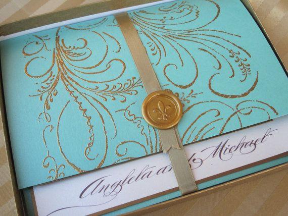 Luxury Wedding Invitation   Marie Antoinette Inspired  Regal   SAMPLE