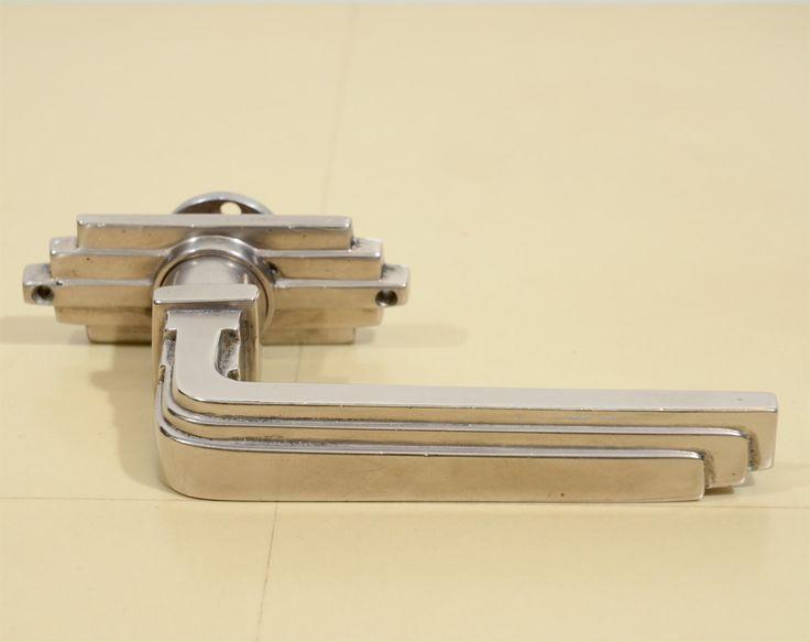 Original Set Of Brushed Nickel Art Deco Door Pulls/Handles