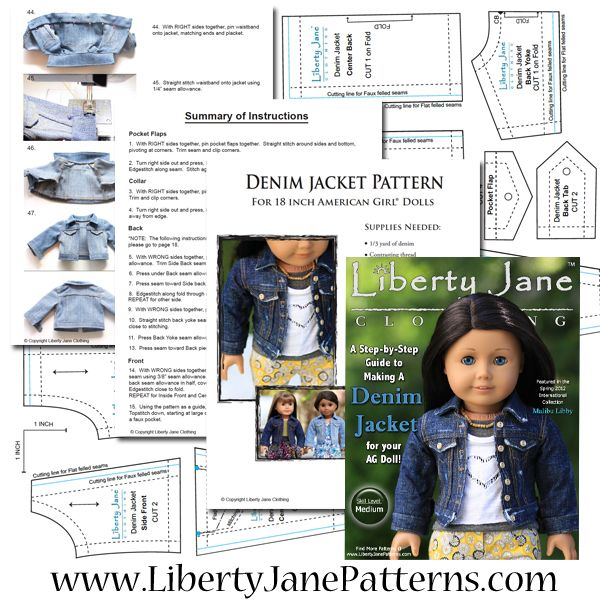 Denim Jacket 18 Doll Clothes Pattern Liberty Jane Designs To Fit