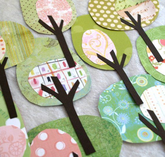 paper trees - do these for art board decor with seasonal papers; fall colors, pinks, whites, lime greens for spring, etc.