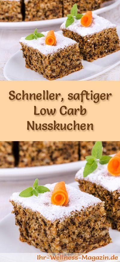 Rezept für einen saftigen Low Carb Nusskuchen: Der kohlenhydratarme, kalorienreduzierte Kuchen wird ohne Zucker und Getreidemehl zubereitet ...