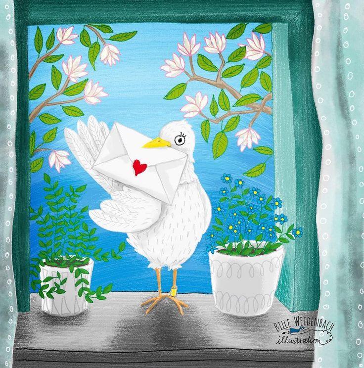 Doch noch geschafft!!!!  POSTBOTE - das heutige doodle . . . #365doodlesmitjohanna @byjohannafritz  #kidlitart #postbote #briefträger #brieftaube #liebesbrief #kinderbuchillustrator #postman #loveletter #dove  #bookillustration #kidsbookillustration #kidsbook #illustratorsofinstagram  #magnolie #magnolia #window #fensterbank #bookillustration #kidsbookillustration #kidsbook #illustratorsofinstagram  #carrierpigeon #Cintiq #homer