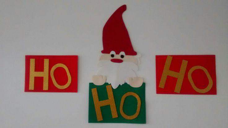 Navidad, pared, papá Noel, ho ho ho, DIY, manualidades.