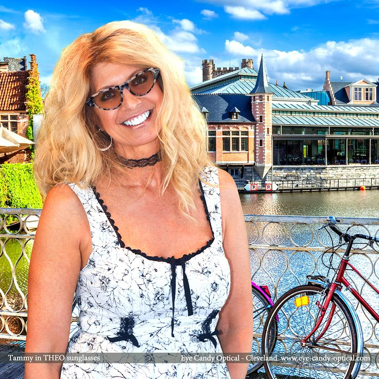 Tammy loves a beautiful sunny day in Brussels, Belgium wearing her new designer sunglasses by Theo. Eye Candy - Has so much fun in the sun with the finest European Eyewear Fashion! Eye Candy Optical Cleveland - The Best Glasses Store! (440) 250-9191 - Book an Eye Exam Online or Over the Phone www.eye-candy-optical.com