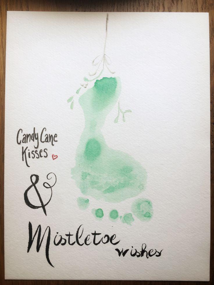 Mistletoe footprint watercolor toddler baby Christmas idea