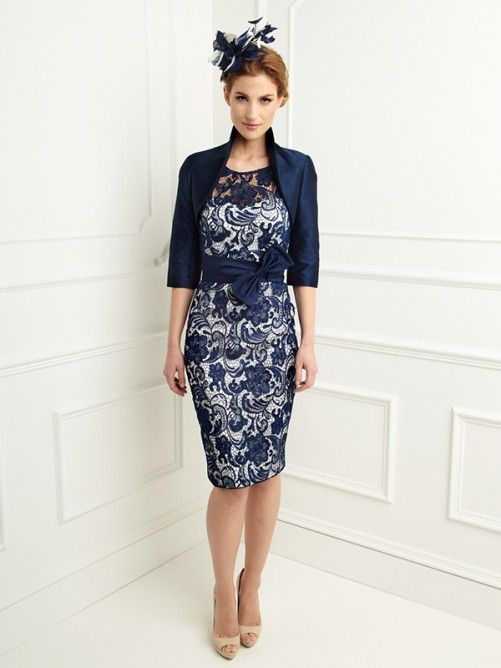 Sheath/Column Scoop 1/2 Sleeves Bowknot Knee-length Lace Mother of the Bride Dresses