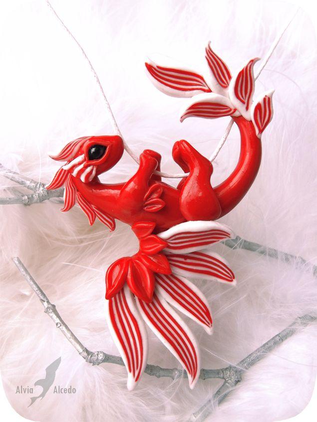 Red coral dragon necklace by AlviaAlcedo.deviantart.com on @deviantART
