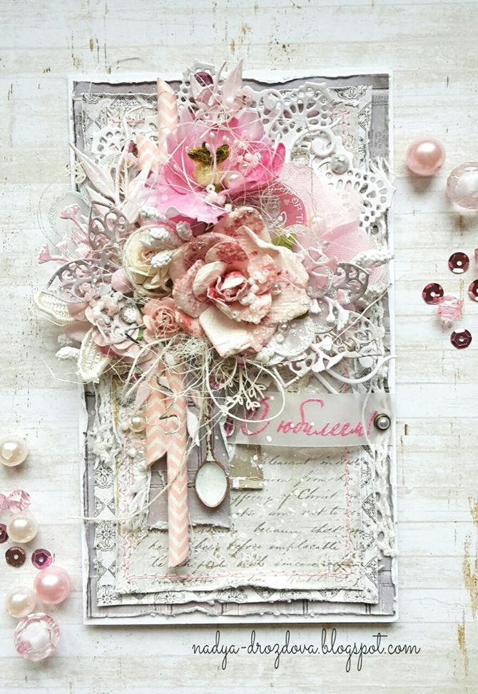Gorgeous mixed media, cottage chic card with floral collage by Nadya Drozdova