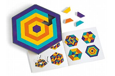 Mosaic Mysteries - Discovery Toys This set of tiles appeals to your child's creative and mathematical nature. Set offers plenty of shapes, textures and colors to recreate 50 stunning patterns suggested in the accompanying manual, or to create original designs from among thousands of possibilities. Tray and 100 pattern tiles in 4 colors.  from 8 years and up