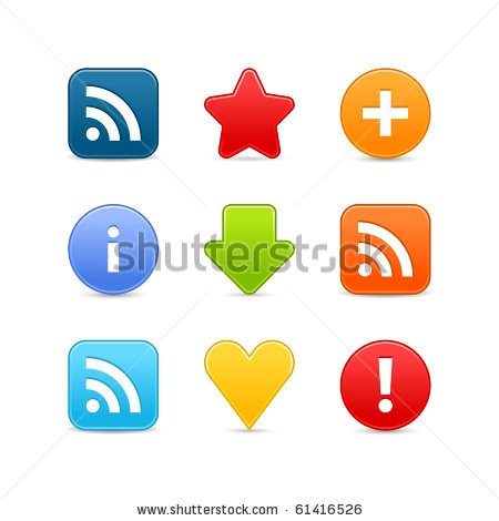 More my images http://www.shutterstock.com/gallery-498844.html — Satin smooth web 2.0 internet button set. Color icon with shadow on white background saved 8 eps — arrow attention blog blue circle cross error exclamation facebook favorite feed gray green heart info mark media network orange plus rating red round rss sign site social square star symbol twitter warning yellow — #Royalty #free #stock #vector #illustration for $0.28 per download