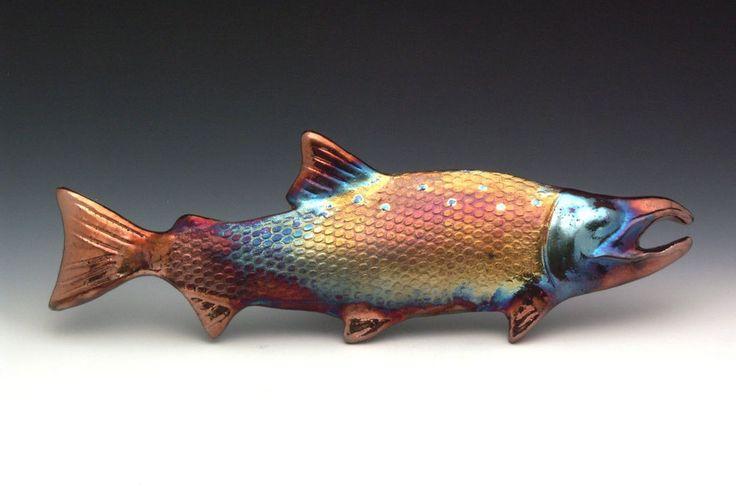 Details about medium raku salmon art fish fishing alaska for Pacific northwest fish