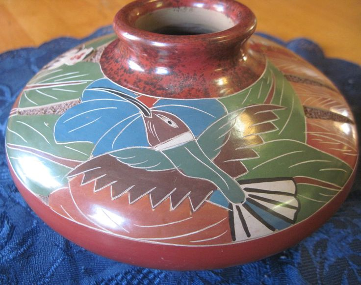 Jungle Hummingbird Monkey Turtle Decorate This Clay Pottery Vase From Costa Rica Signed Celia