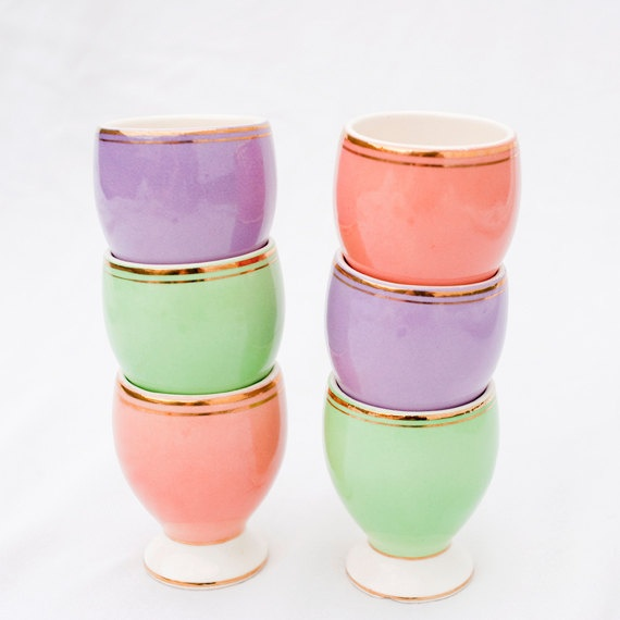 Vintage Egg Cups Set of Six by OhHazelVintage on Etsy,