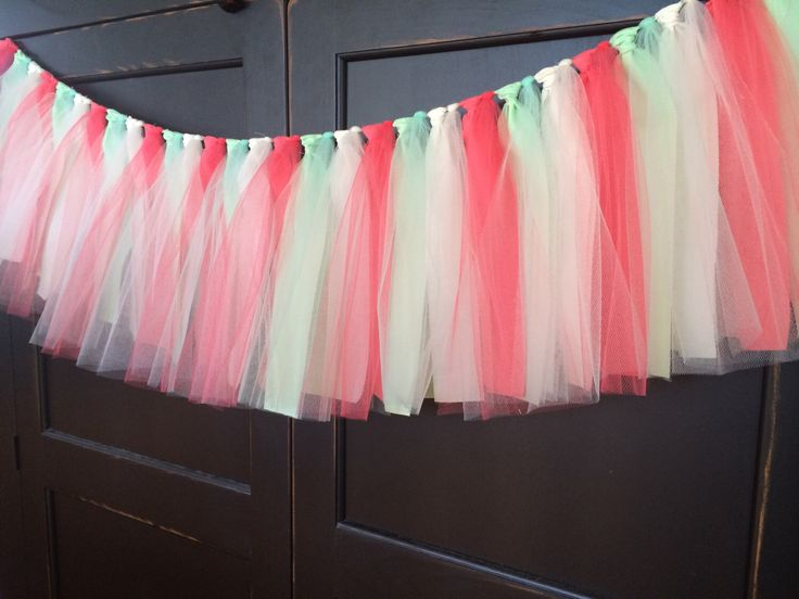 Coral and Mint Tutu Rag Tie Fringe Garland, Bunting, Banner, Swag, Backdrop, Streamer, Photo Prop, Cake Smash in Tulle and Fabric by TheFrozenApple on Etsy https://www.etsy.com/listing/230120562/coral-and-mint-tutu-rag-tie-fringe