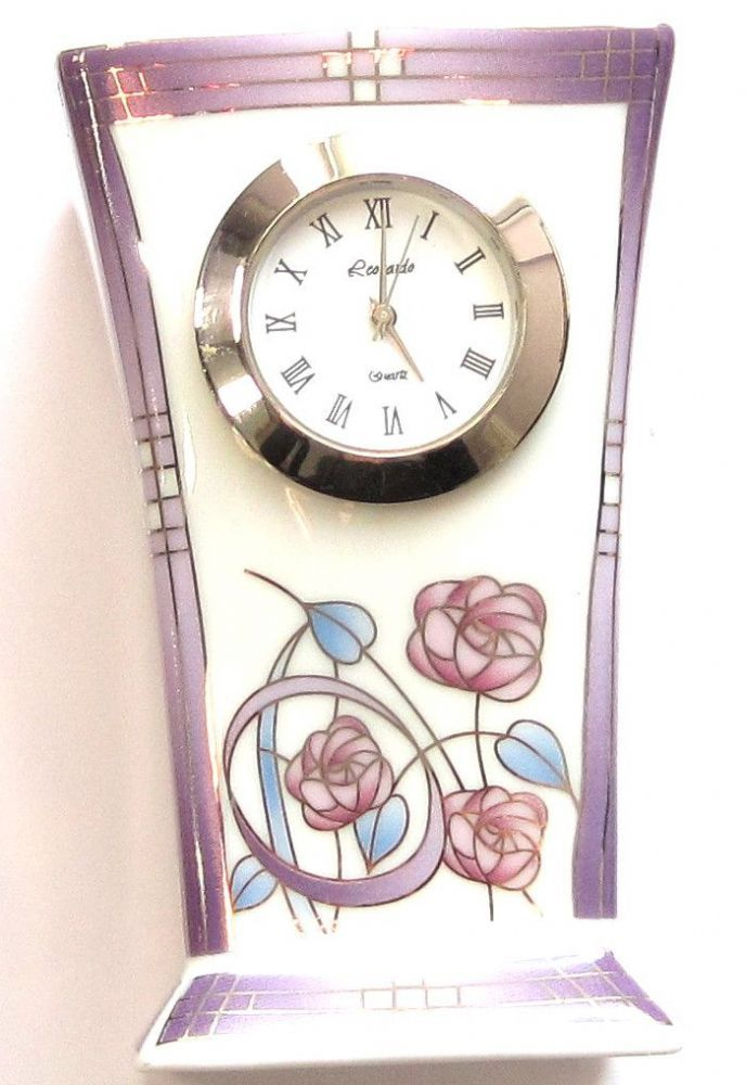 This stunning Mackintosh style small mantel clock with a purple rose pattern is a stylish addition addition to home Made from quality porcelain