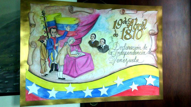 Cartelera escolar. 19 de Abril de 1810. Primer paso independentista. Venezuela.