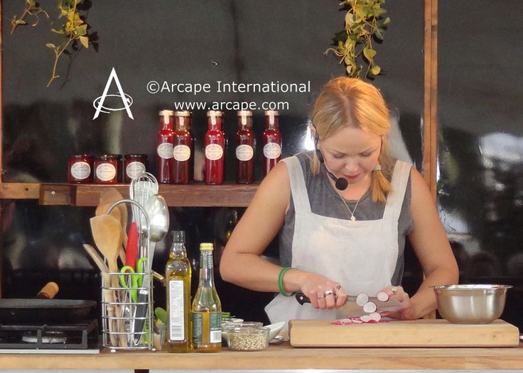 Great food demonstration from Rosie Birkett at Snape Maltings.