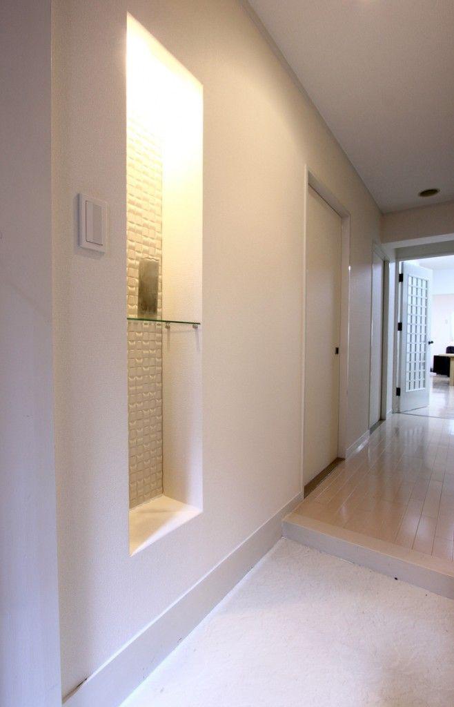 玄関のニッチをエコカラットで仕上げました。:施工事例|リフォームを福岡市南区,春日市,大野城市周辺でするならステップ技建にお任せください。