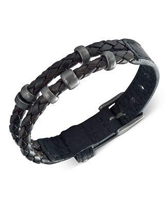 Fossil Men's Bracelet, Black Leather Double Wrap Bracelet - Fashion Bracelets - Jewelry & Watches - Macy's