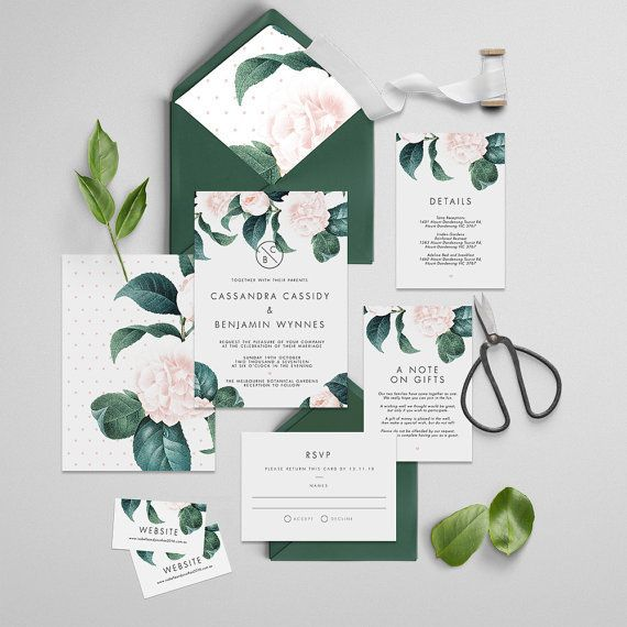 Pink and green floral invitations by The Fabled Papery