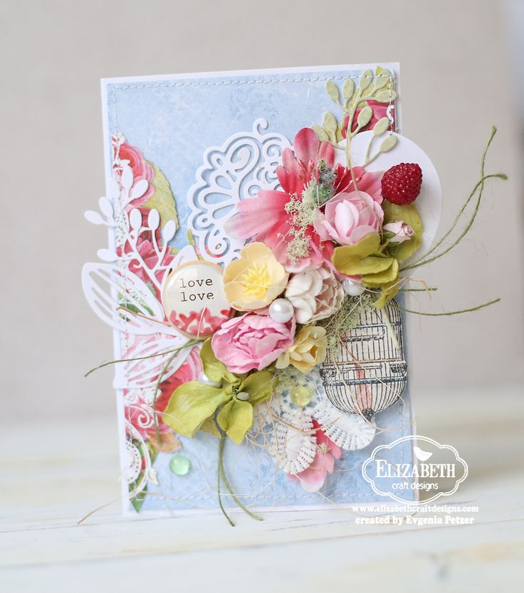 Hello dear friends, I have another floral card to share with you, the one I made using Elizabeth craft Designs dies and some other product...