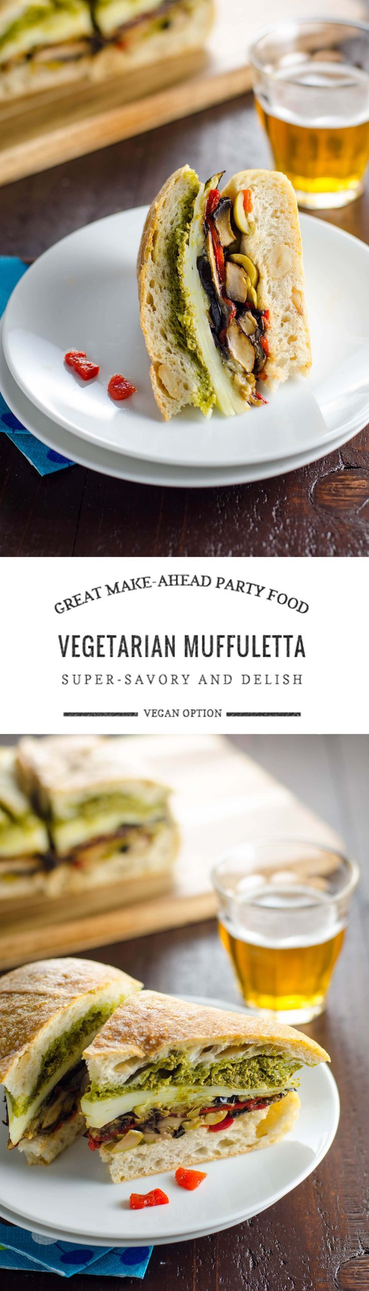 Easy, no-cook recipe for a wonderfully savory vegetarian muffuletta sandwich. Celebrate Mardi Gras (or Mardi Gratzer, if you wish) in style. :)