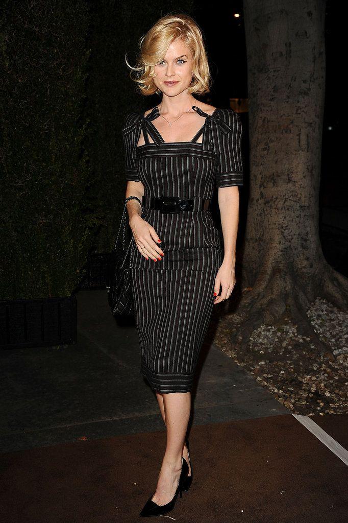 Pin-striped sheath dress