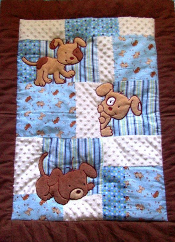 This adorable Puppy baby blanket has a combination of minky and flannel patchwork quilt panels on the front and plush minky on the back. It is oh so soft and cuddly. A perfect gift for your little one. I have sold several of these soft and cuddly puppy baby quilts and by sheer luck have found enough of this adorable owl print to make only 2 more blankets. Order now as supplies are limited!  The front is a plush, puffy-like flannel quilt showing off 3 cute puppies playing peekaboo. The back…