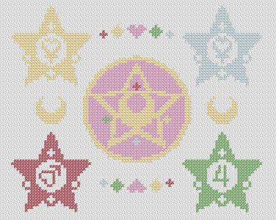 Sailor Moon Crystal Star and Star Wands Cross di Stitchynova