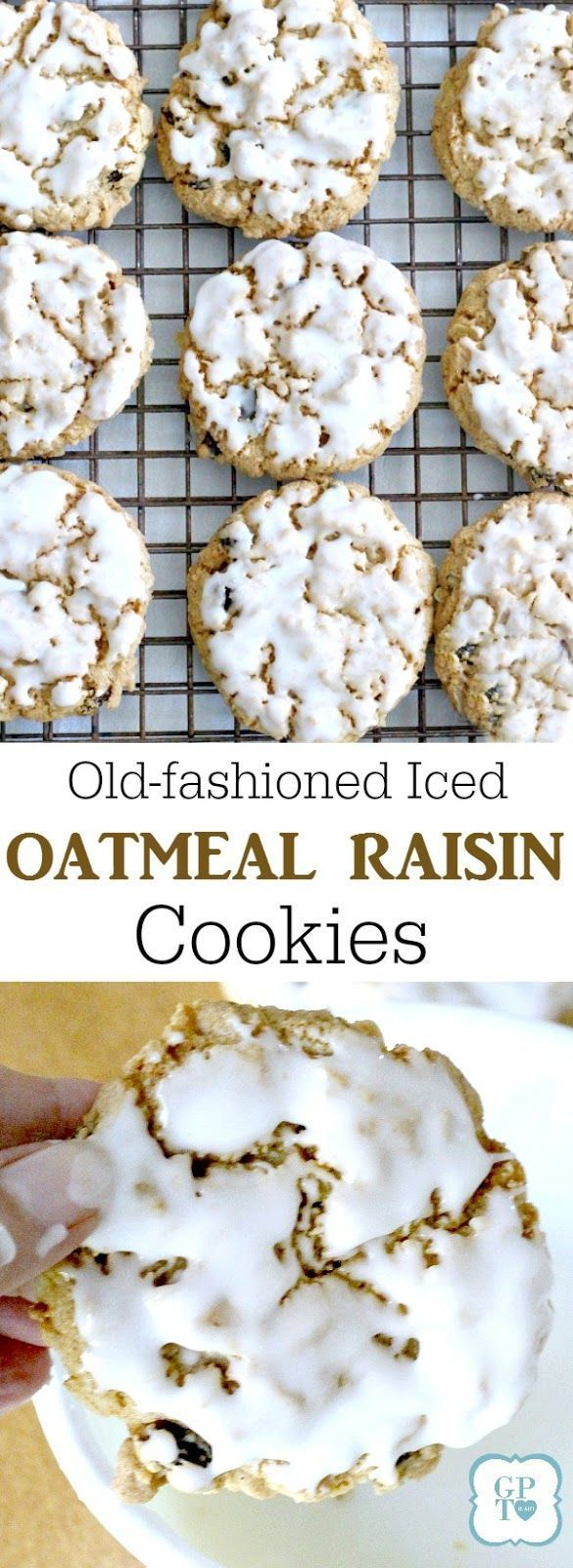Chewy iced oatmeal raisin cookies. Easy recipe for old-fashioned frosted treats to bake for and with kids.